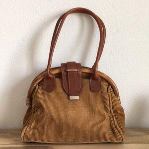 VINTAGE wood top vegan leather corduroy handbag